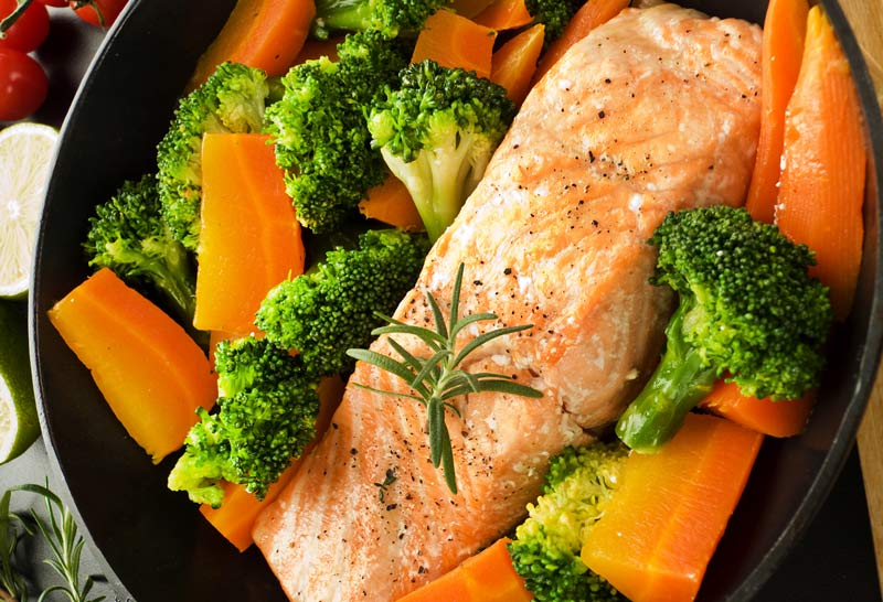 Salmon Steak with Vegetables for Cancer Patients