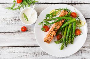 salmon steak with vegetables for depression