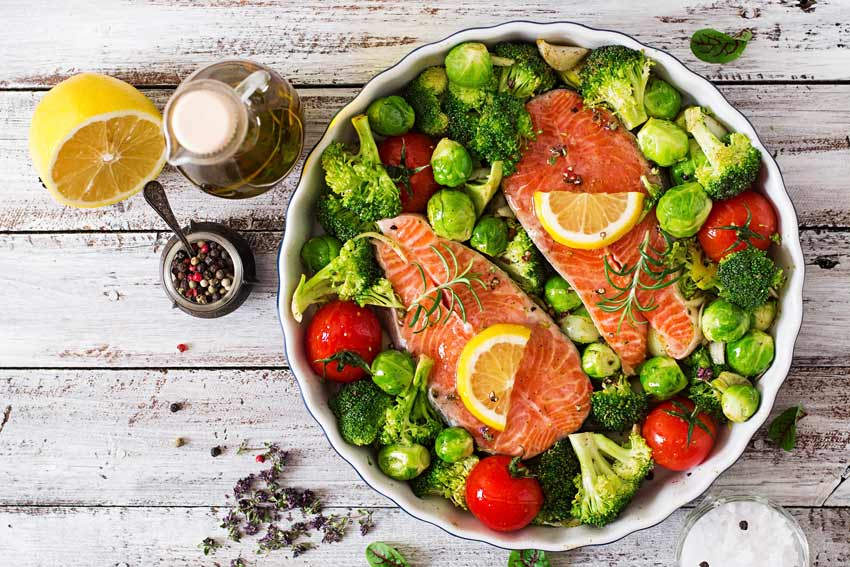 Salmon Steak with Vegetables for Children with ADHD