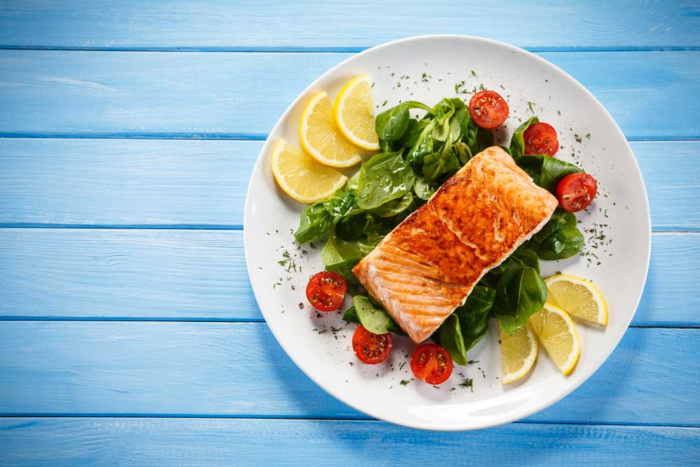 Salmon Steak with Vegetables for Infertility