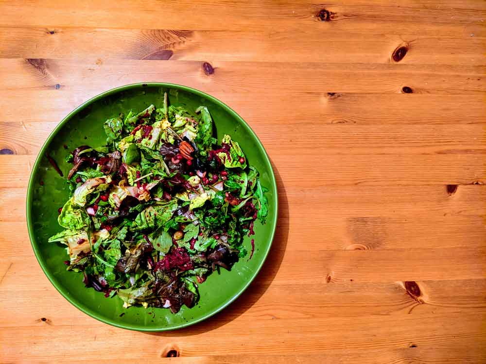 Green Salad with Cherries for Immunity Boosting
